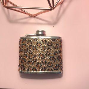 Betsey Johnson Rhinestone Leopard Print Flask